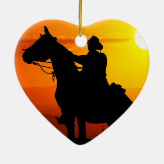 Sunset cowboy-Cowboy-sunshine-western-country Ceramic Ornament