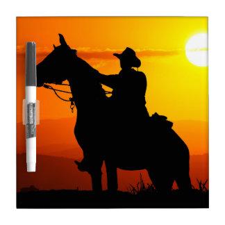 Sunset cowboy-Cowboy-sunshine-western-country Dry Erase Board