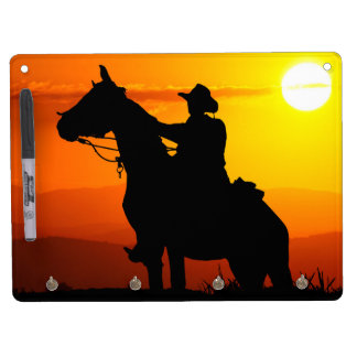 Sunset cowboy-Cowboy-sunshine-western-country Dry Erase Board With Key Ring Holder