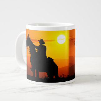 Sunset cowboy-Cowboy-sunshine-western-country Large Coffee Mug