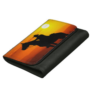 Sunset cowboy-Cowboy-sunshine-western-country Leather Wallets