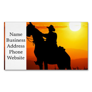 Sunset cowboy-Cowboy-sunshine-western-country Magnetic Business Card