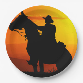Sunset cowboy-Cowboy-sunshine-western-country Paper Plate