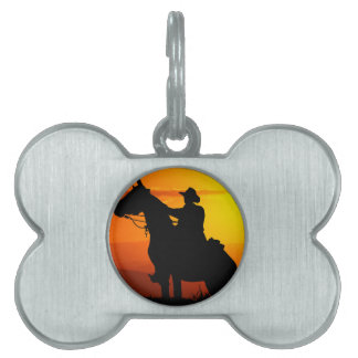 Sunset cowboy-Cowboy-sunshine-western-country Pet Name Tag