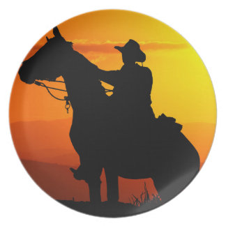 Sunset cowboy-Cowboy-sunshine-western-country Plate
