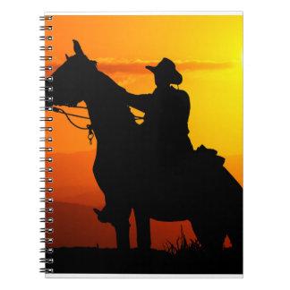 Sunset cowboy-Cowboy-sunshine-western-country Spiral Notebook