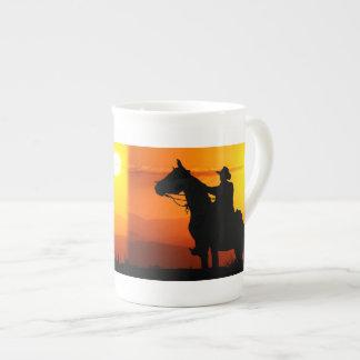Sunset cowboy-Cowboy-sunshine-western-country Tea Cup
