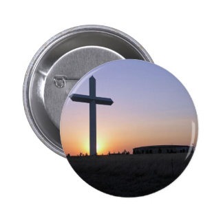 Sunset cross 6 cm round badge