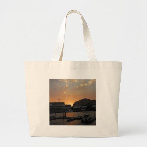 Sunset Dark Shore City Tote Bag