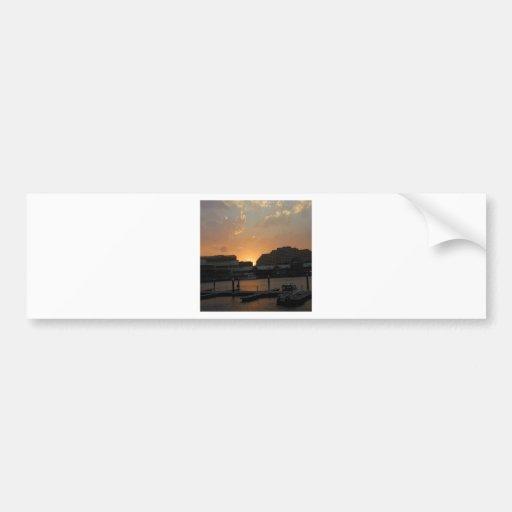 Sunset Dark Shore City Bumper Sticker