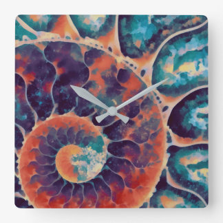 sunset daze nautilus square wall clock