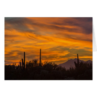Sunset Desert Greeting Card Saguaros in the Sky