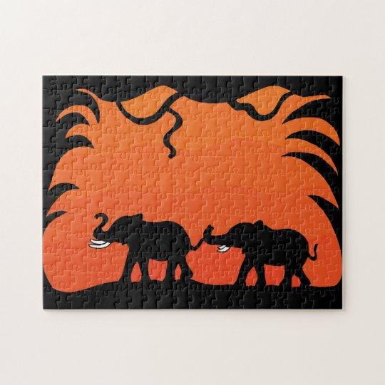 Sunset elephants jigsaw puzzle
