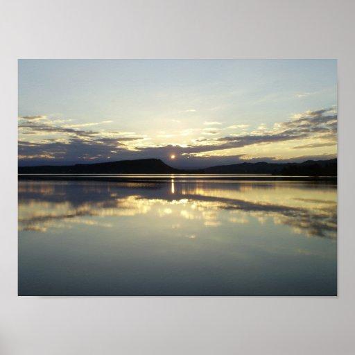 Sunset Embalse Lake Posters