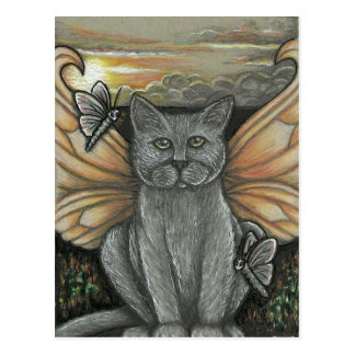 Sunset Feline Fairy Postcard