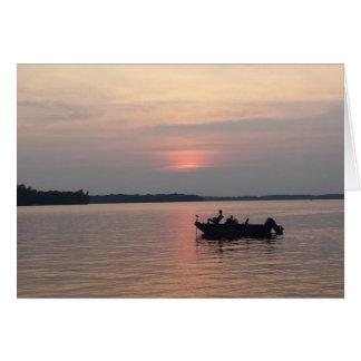 Sunset Fishing on the Lake Greeting Card