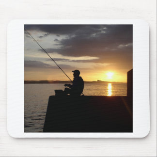 Sunset Fishing Point Of View Mouse Pad