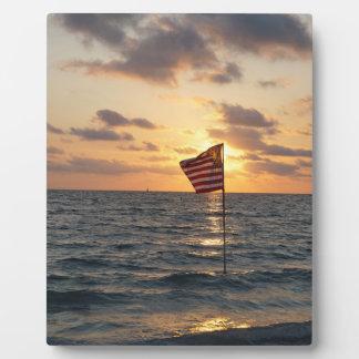 Sunset Flag Plaque