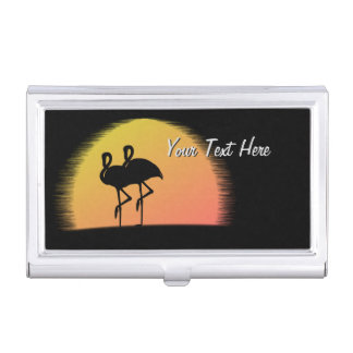 Sunset Flamingos Business Card Holder