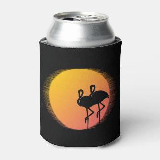 Sunset Flamingos Can Cooler