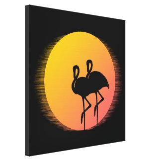 Sunset Flamingos Canvas Print