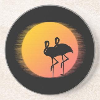 Sunset Flamingos Coaster
