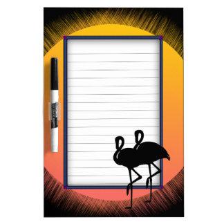 Sunset Flamingos Easy Line Dry Erase Board
