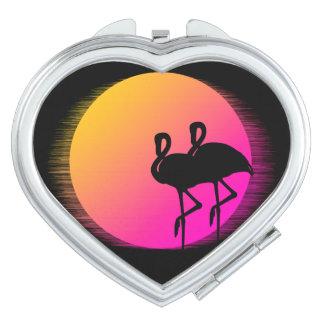 Sunset Flamingos Makeup Mirror