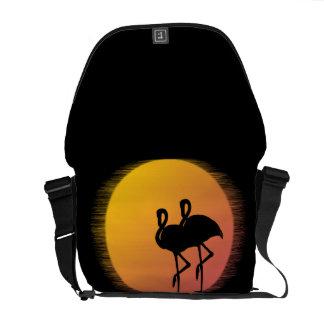 Sunset Flamingos Messenger Bag