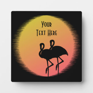 Sunset Flamingos Plaque