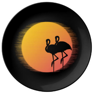 Sunset Flamingos Plate