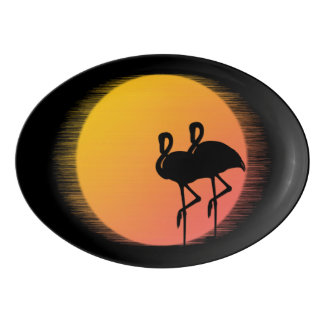 Sunset Flamingos Porcelain Serving Platter