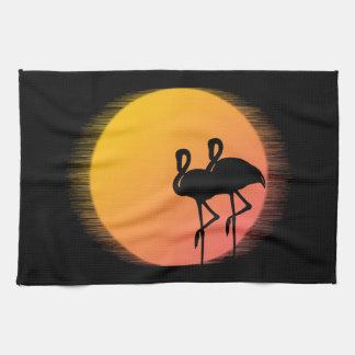 Sunset Flamingos Tea Towel
