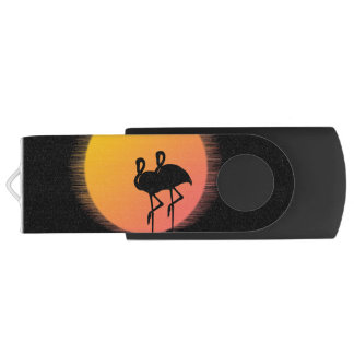 Sunset Flamingos USB Flash Drive