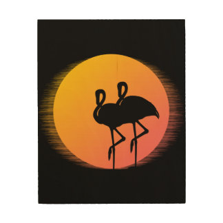 Sunset Flamingos Wood Print