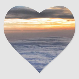 Sunset from the Sky Heart Sticker