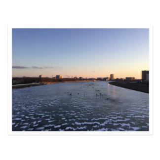 Sunset Frozen River Postcard