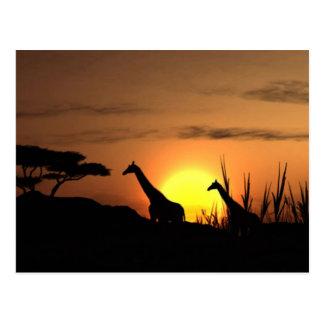 """""""Sunset Giraffe Silhouette"""" Postcard"""
