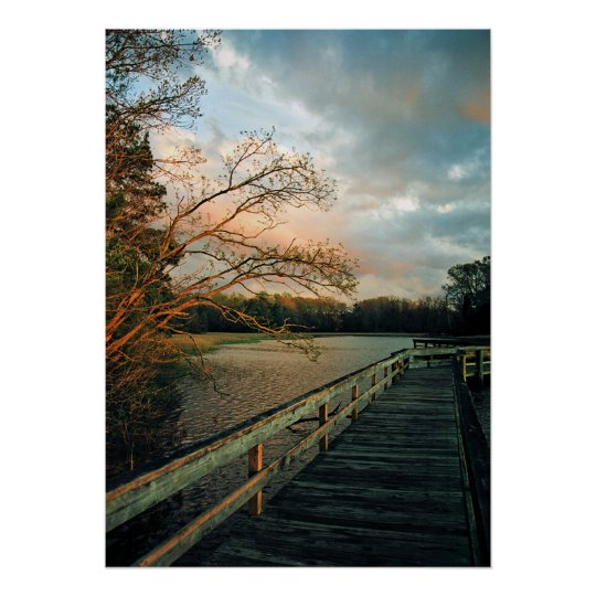 Sunset Glow on Pier poster