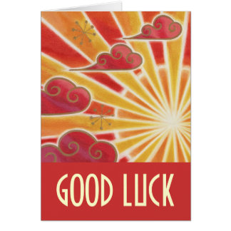 Sunset 'Good Luck' card red