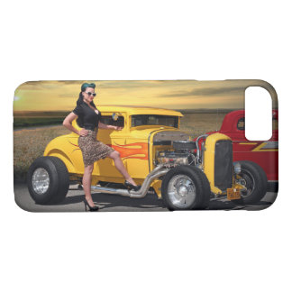 Sunset Graffiti Hot Rod Coupe Pin Up Car Girl iPhone 8/7 Case