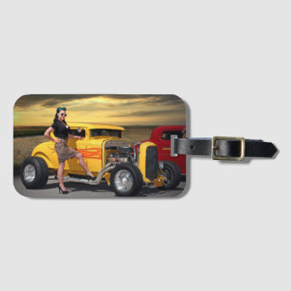 Sunset Graffiti Hot Rod Coupe Pin Up Car Girl Luggage Tag