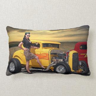 Sunset Graffiti Hot Rod Coupe Pin Up Car Girl Lumbar Cushion