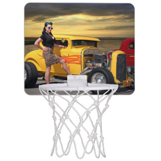 Sunset Graffiti Hot Rod Coupe Pin Up Car Girl Mini Basketball Hoop