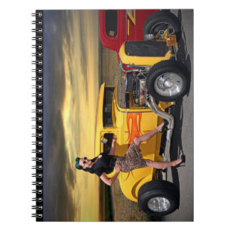 Sunset Graffiti Hot Rod Coupe Pin Up Car Girl Notebook