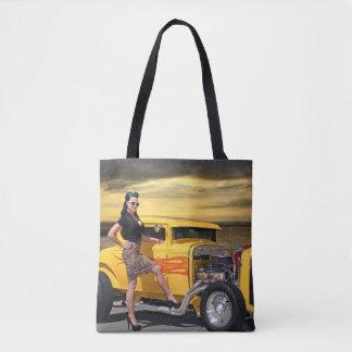 Sunset Graffiti Hot Rod Coupe Pin Up Car Girl Tote Bag
