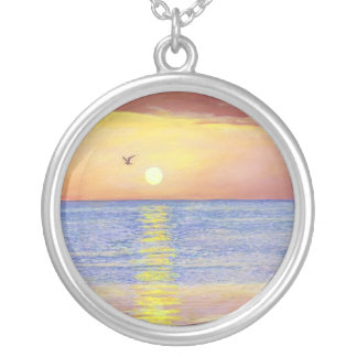 """""""SUNSET GULL NAPLES FLORIDA"""" SILVER PLATED NECKLACE"""