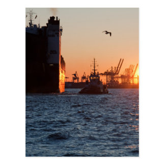 Sunset Hamburg Harbour Postcard