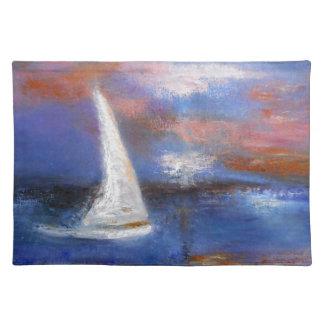 Sunset Harbor Sail Seascape Painting Placemat