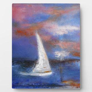 Sunset Harbor Sail Seascape Painting Plaque